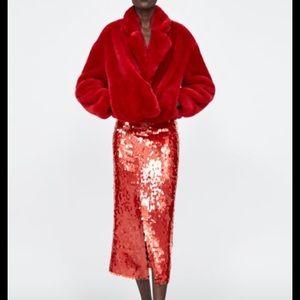Zara red fur jacket